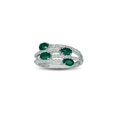 Created Emerald and Created White Sapphire Silver Ring