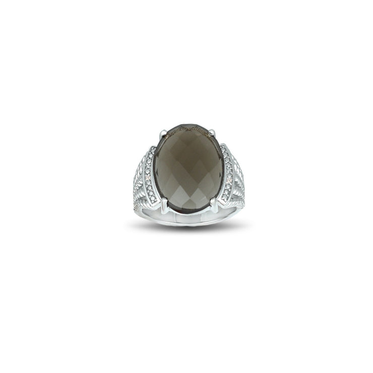Smokey Topaz and Diamond Accent Ring in Sterling Silver