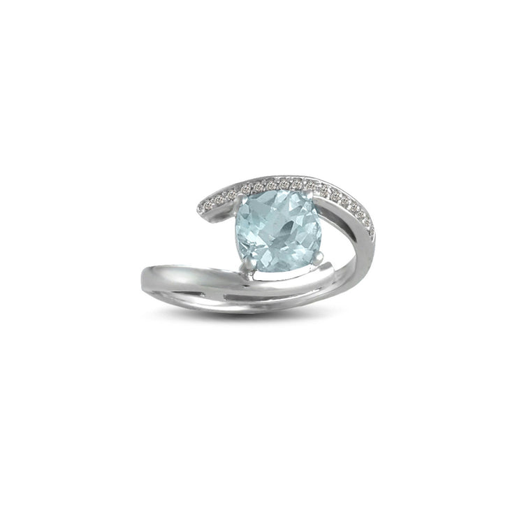 Aquamarine and Diamond Accent Ring in Sterling Silver