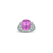 Created Pink Sapphire and Diamond Accent Ring in Sterling Silver