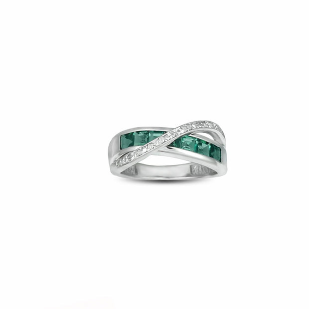 Created Emerald and Diamond Accent Silver Ring