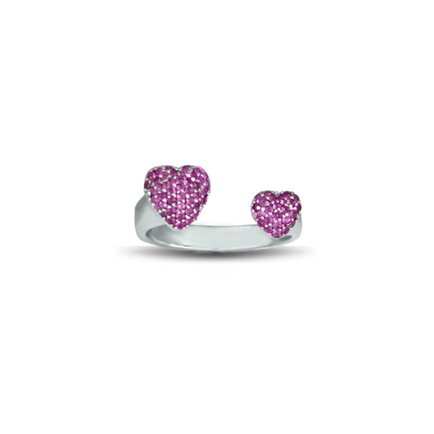 Created Ruby Heart Ring in Sterling Silver