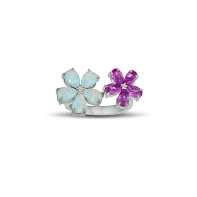 Created Opal and Created Pink Sapphire Flower Ring