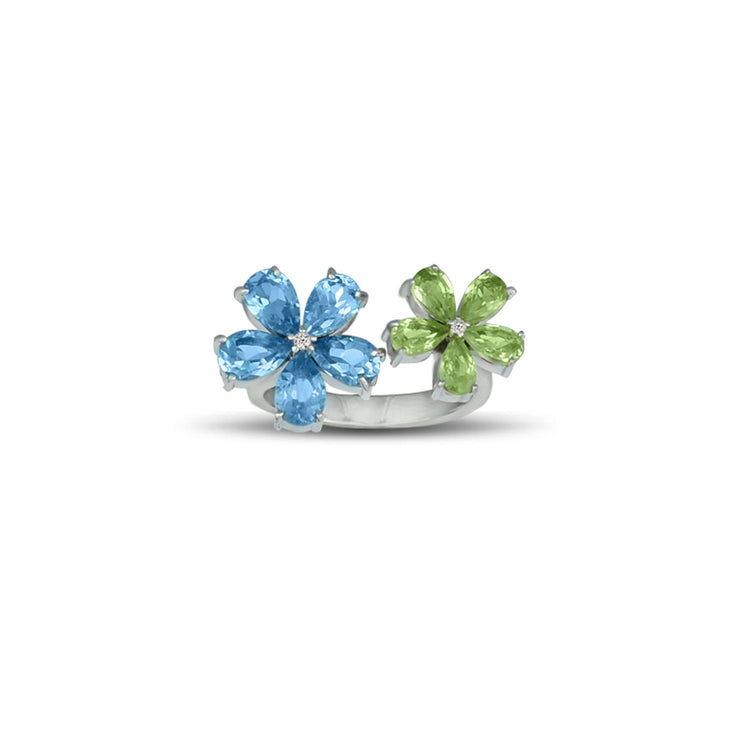 Peridot and Blue Topaz Flower Ring in Silver