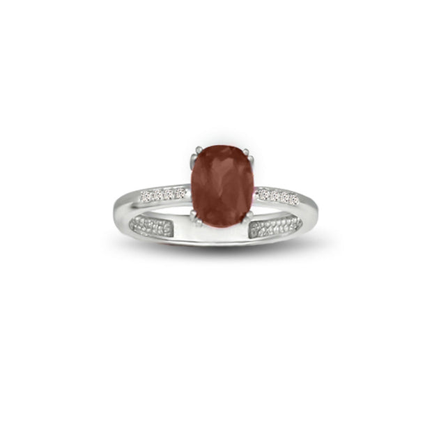 Garnet and Diamond Accent Ring in Sterling Silver