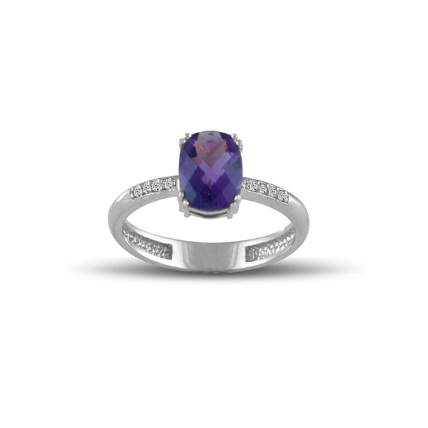 White Gold Amethyst Ring - 10K White Gold Amethyst and Diamond Accent Ring