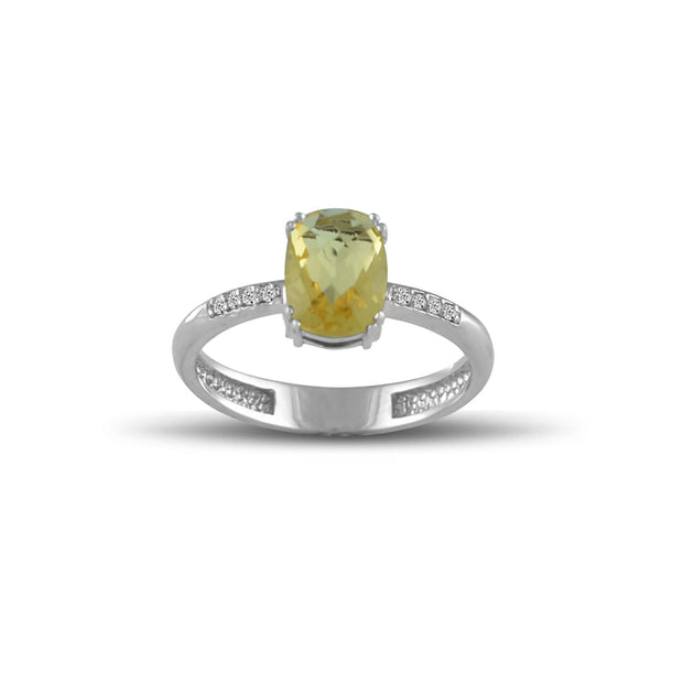 10K White Gold Citrine and Diamond Accent Fashion Ring
