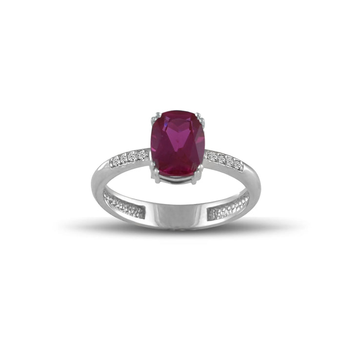 10K White Gold Created Ruby and Diamond Accent Fashion Ring