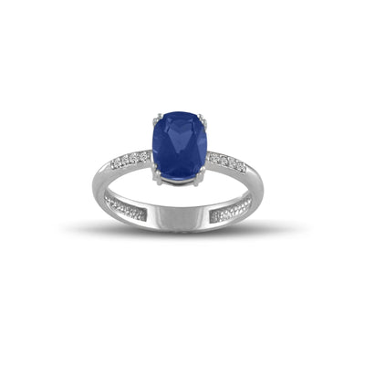 10K White Gold Created Sapphire and Diamond Accent Fashion Ring