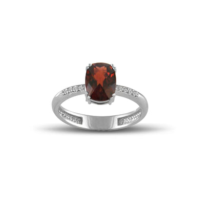 10K White Gold Garnet and Diamond Accent Fashion Ring