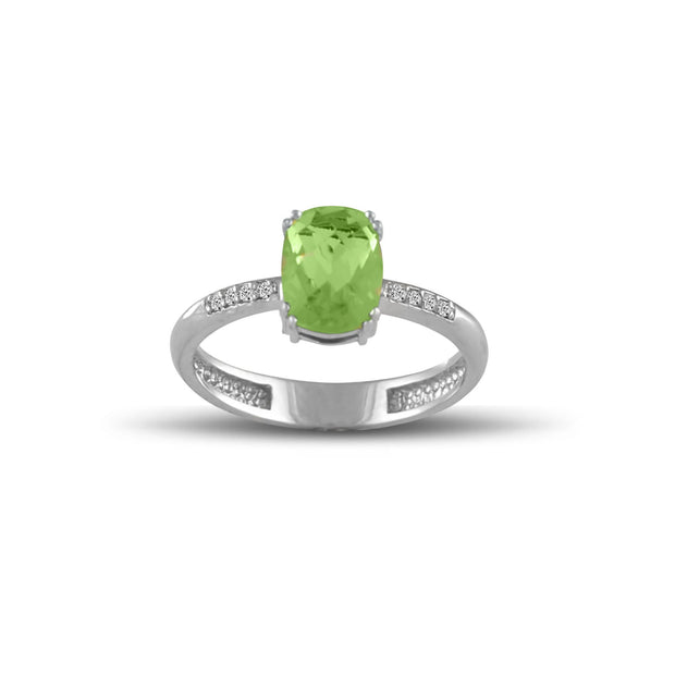 10K White Gold Peridot and Diamond Accent Fashion Ring