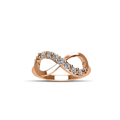 14K Rose Gold-Plated over Sterling Silver Cubic Zirconia Fashion Infinity Ring