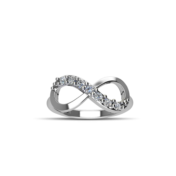 Cubic Zirconia Fashion Infinity Ring in Sterling Silver