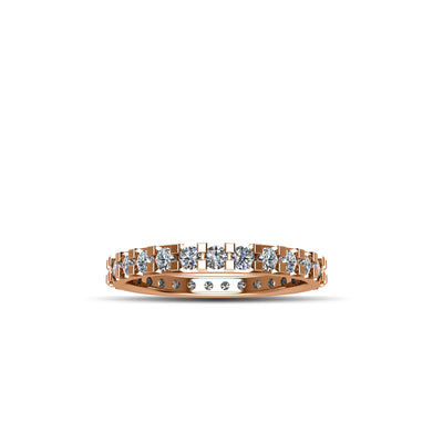 14K Rose Gold-Plated Cubic Zirconia Fashion Eternity Ring in Sterling Silver