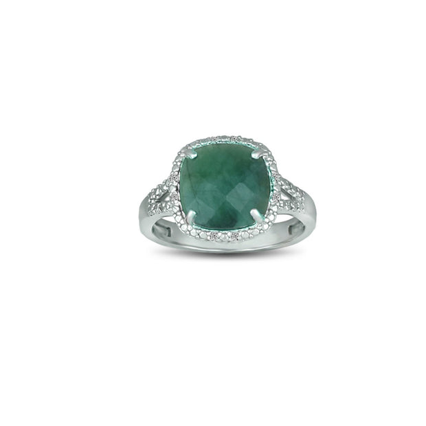 Genuine Emerald and Diamond Accent Silver Ring