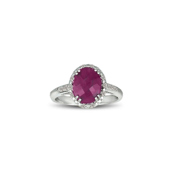 Genuine Ruby and Diamond Accent Silver Ring