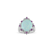 Created Opal and Created Pink Sapphire Silver Ring