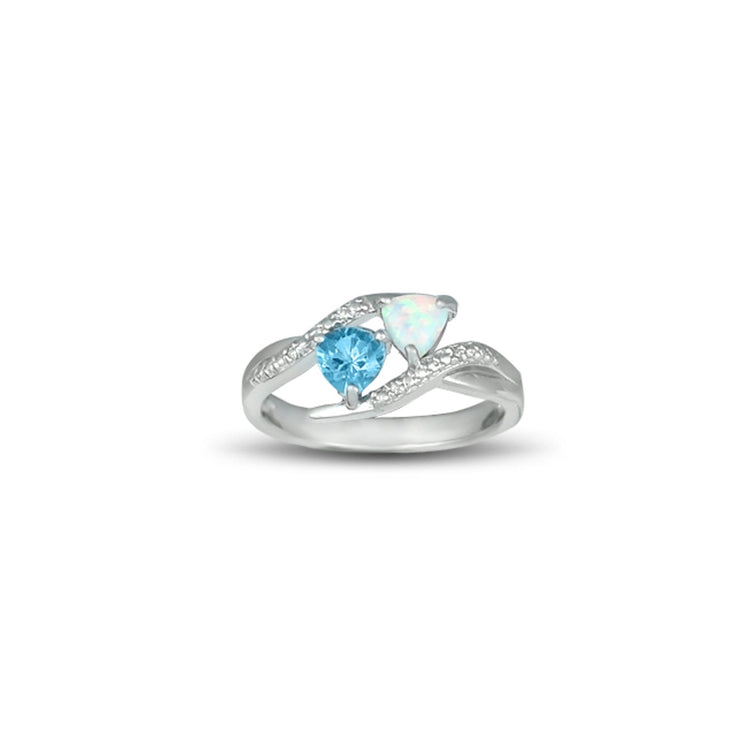 Created Opal and Blue Topaz Ring in Sterling Silver