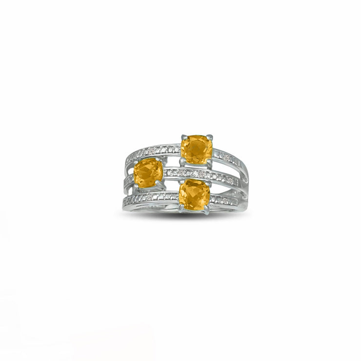 Citrine and Diamond Accent Ring in Sterling Silver