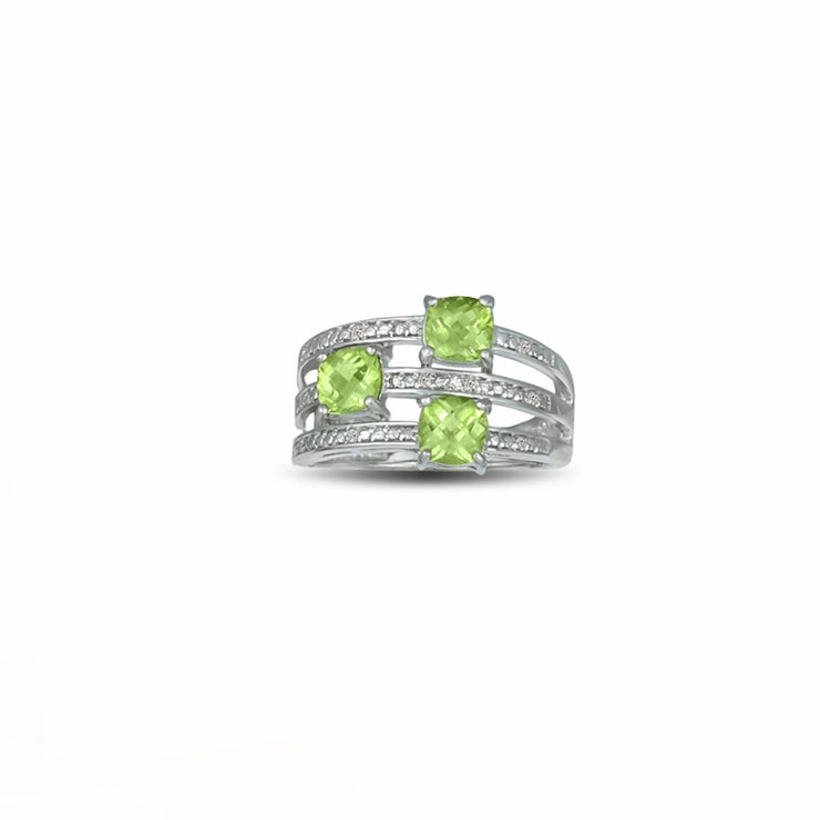 Peridot and Diamond Accent Ring in Sterling Silver