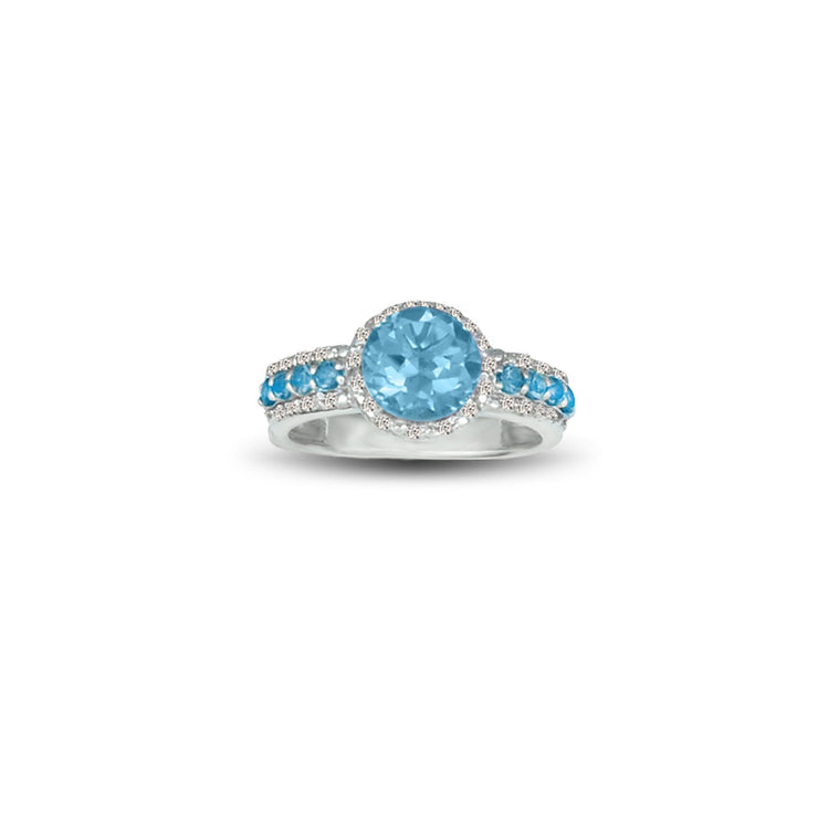 Blue Topaz and Diamond Accent Ring in Sterling Silver