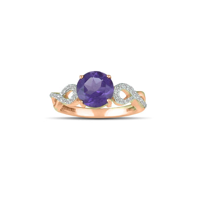Amethyst Gold Ring - 10K Rose Gold Amethyst and Diamond Accent Fashion Ring