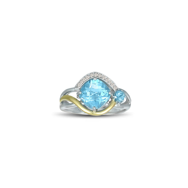 Blue Topaz and Diamond Accent Ring in Silver & 10K