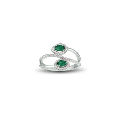 Created Emerald and Diamond Fashion Silver Ring