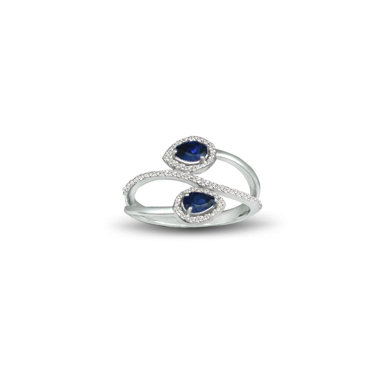 Created Sapphire and Diamond Fashion Silver Ring