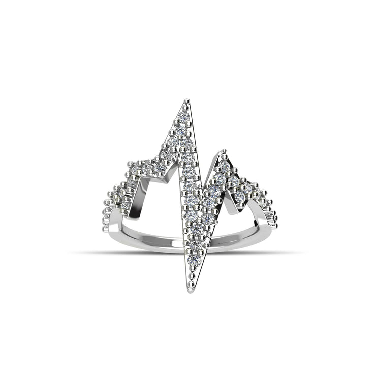 Cubic Zirconia Fashion Heartbeat Ring in Sterling Silver