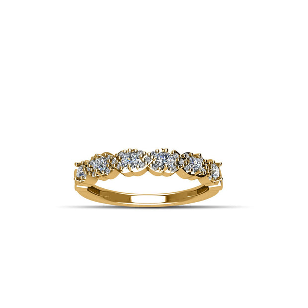 14K Yellow Gold-Plated Cubic Zirconia Fashion Band Ring in Sterling Silver