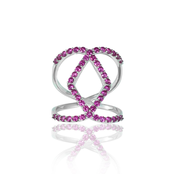 Created Ruby Geometric Fashion Ring in Sterling Silver