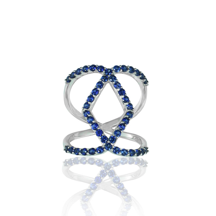 Created Sapphire Geometric Fashion Ring in Sterling Silver