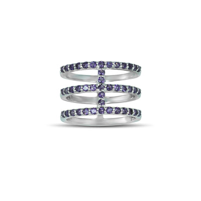Amethyst Geometric Ring - Three Row Fashion Amethyst Ring in Silver
