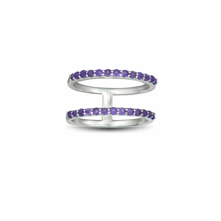 Amethyst Geometric Ring - Two Row Fashion Amethyst Ring in Silver