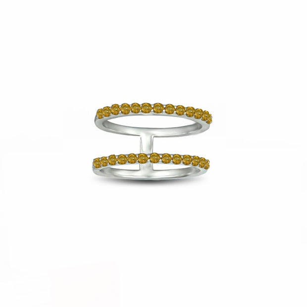 Citrine Two Row Geo Ring in Sterling Silver
