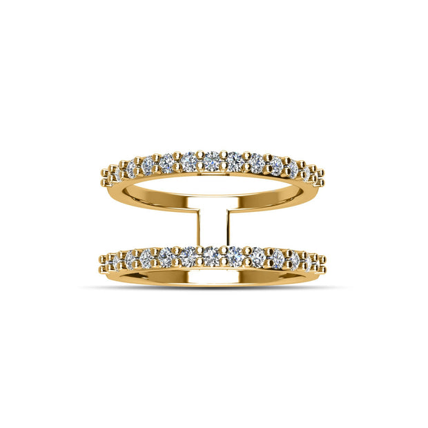 14K Gold-Plated Cubic Zirconia Fashion Geo Ring in Sterling Silver