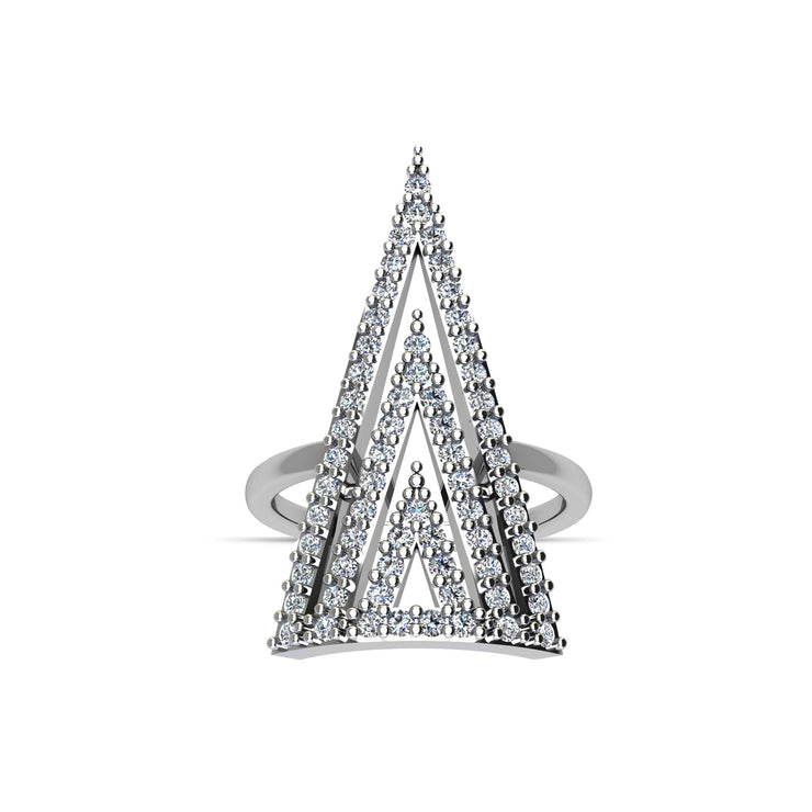 Cubic Zirconia Fashion Geo Ring in Sterling Silver