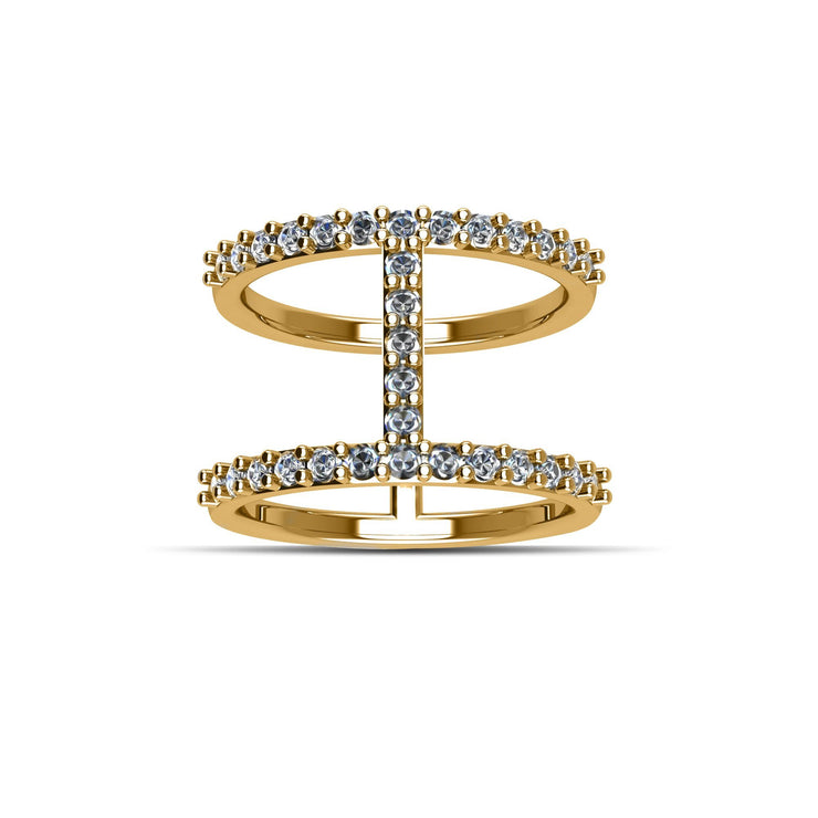 14K Yellow Gold-Plated Cubic Zirconia Fashion Geo Ring in Sterling Silver