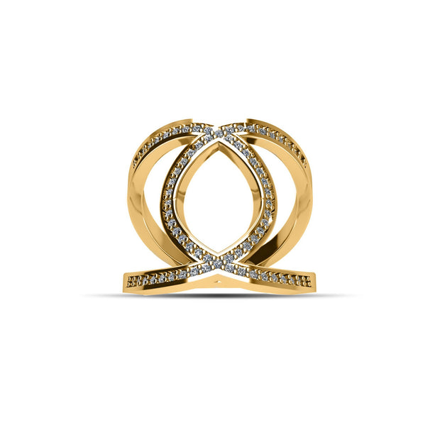 14K Gold-Plated Cubic Zirconia Fashion Ring in Sterling Silver
