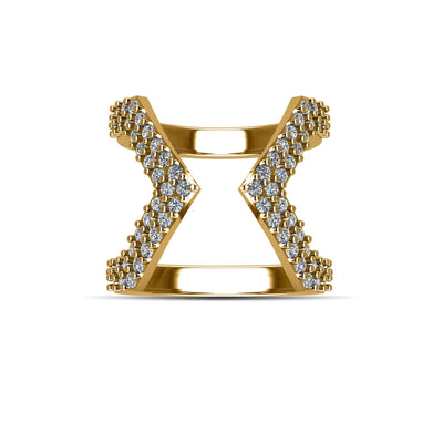 14k Gold-Plated Over Sterling Silver Cubic Zirconia Fashion Geo Ring