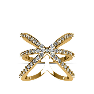 14K Gold-Plated over Sterling Silver CZ Fashion Ring