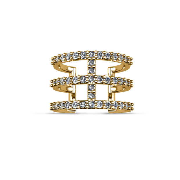 14K Yellow Gold-Plated Cubic Zirconia Fashion Geometric Ring in Sterling Silver