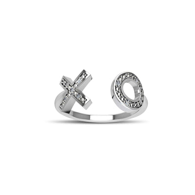 Diamond Geometric Ring - Fashion Diamond 'XO' Ring in Silver