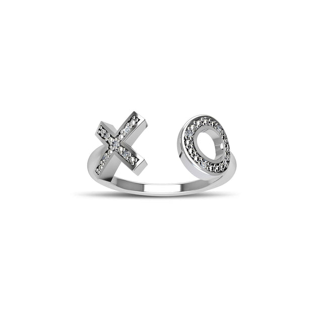 Cubic Zirconia Fashion 'XO' Ring in Sterling Silver