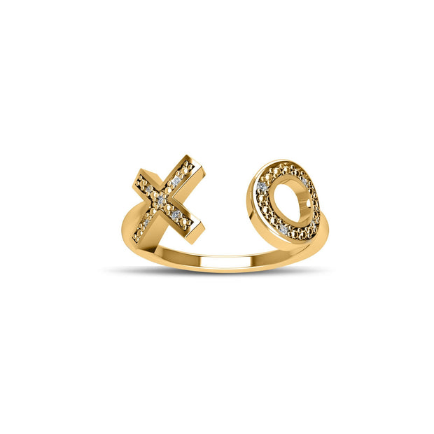 14K Gold-Plated Cubic Zirconia Fashion 'XO' Ring in Sterling Silver