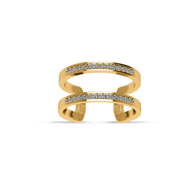 14K Gold-Plated Cubic Zirconia Fashion Geometric Ring in Sterling Silver