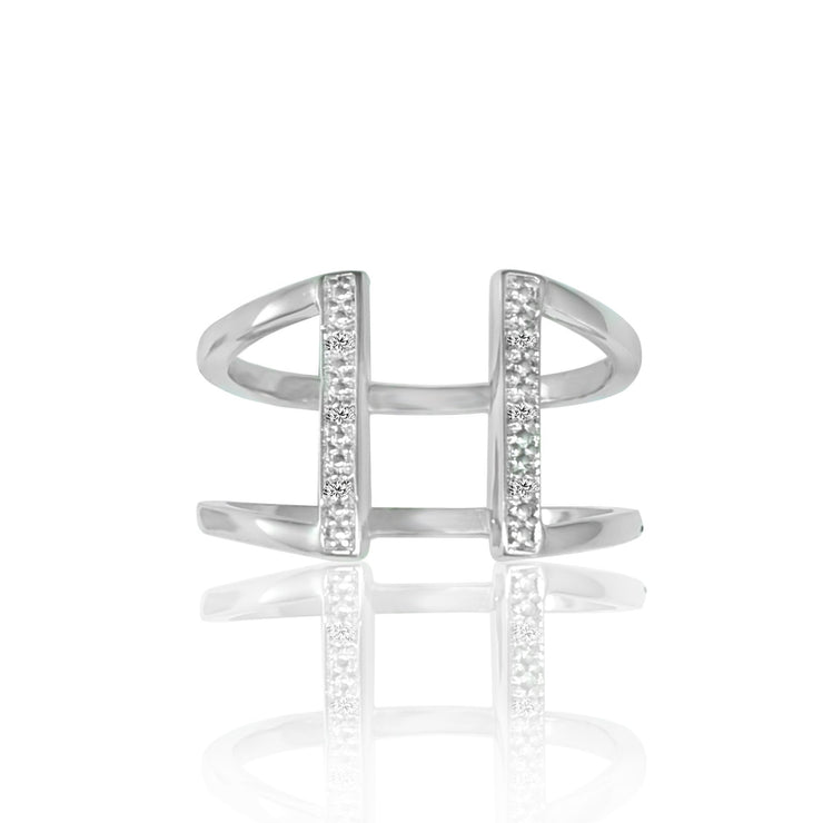 Diamond Geometric Ring - Fashion Diamond Accent Ring in Sterling Silver
