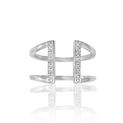 Cubic Zirconia Fashion Geometric Ring in Sterling Silver