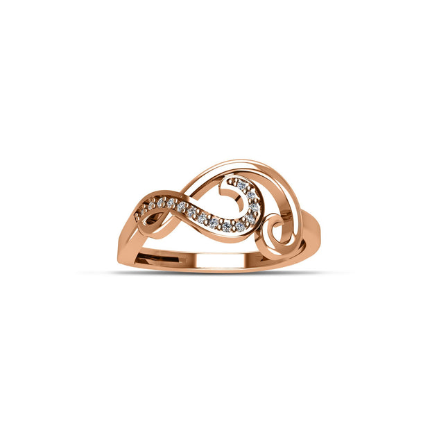 14K Rose Gold-Plated Cubic Zirconia Fashion Ring in Sterling Silver